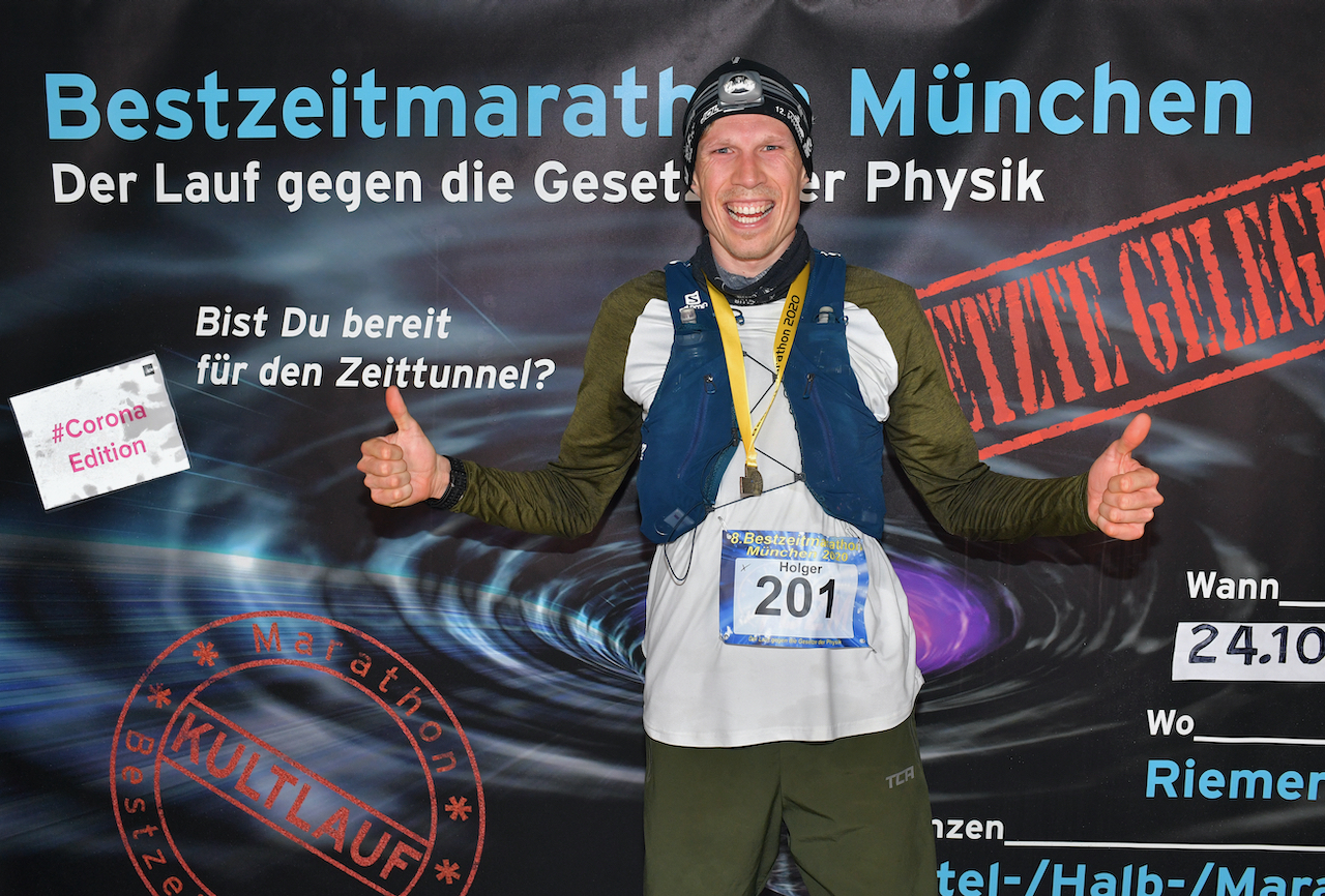 Bestzeitmarathon München - der Lauf gegen die Gesetze der Physik am 24.10.2020 in München-Riem.FotocreditHannes Magerstaedt